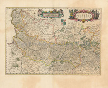 Arras Lille Abbeville France Vintage Map Blaeu 1680