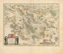 Montchanin Le Creusot France Vintage Map Blaeu 1640