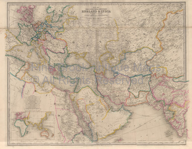 Countries between england india vintage map wyld 1863 countries between england india vintage map wyld 1863 gumiabroncs Gallery