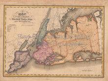 Queens King Richmond County New York Antique Map Burr 1829