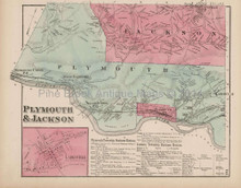 Plymouth Jackson Larksville Pennsylvania Antique Map Beers 1873