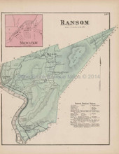 Ransom Milwaukie Pennsylvania Antique Map Beers 1873