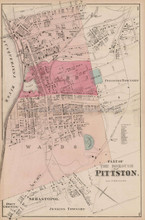 Pittston Wards 4,5,6 Pennsylvania Antique Map Beers 1873