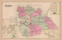 Flushing Hinsdale New York Vintage Map Beers 1873