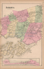 Jamaica New York Vintage Map Beers 1873