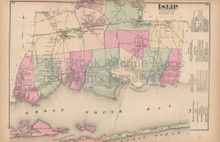 Islip Sayville New York Vintage Map Beers 1873