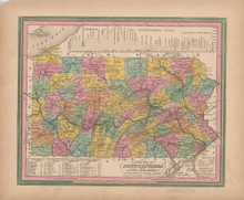 Pennsylvania Vintage Map Tanner 1845 Original