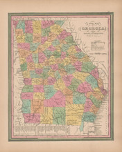 Georgia Vintage Map Tanner 1845 Original