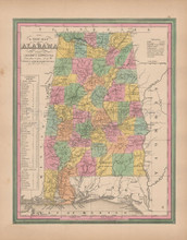 Alabama Vintage Map Tanner 1845 Original
