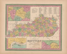 Kentucky Vintage Map Tanner 1845 Original