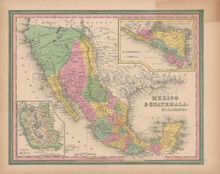 Mexico Vintage Map Tanner 1845 Original