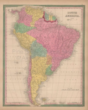 South America Vintage Map Tanner 1845 Original