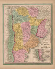 Chile Argentina Vintage Map Tanner 1845 Original