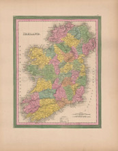 Ireland Vintage Map Tanner 1845 Original