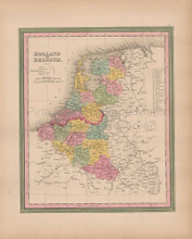Holland Belgium Vintage Map Tanner 1845 Original