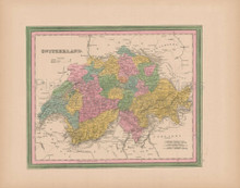 Switzerland Vintage Map Tanner 1845 Original