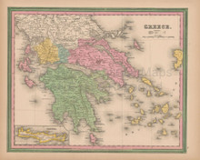 Greece Vintage Map Tanner 1845 Original