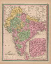 Hindoostan India Vintage Map Tanner 1845 Original