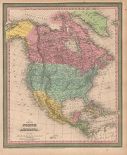 North America Antique Map Cowperthwait 1853