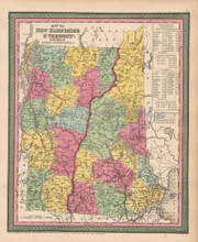 Vermont New Hampshire Antique Map Cowperthwait 1853