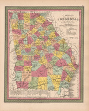 Georgia Antique Map Cowperthwait 1853