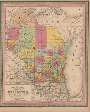 Wisconsin antique map cowperthwait 1853 pine brook antique maps wisconsin antique map cowperthwait 1853 publicscrutiny Image collections