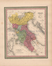 Italy Antique Map Cowperthwait 1853