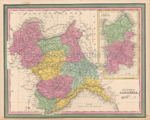 Sardinia Kingdom Antique Map Cowperthwait 1853
