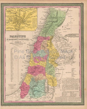 Palestine Antique Map Cowperthwait 1853
