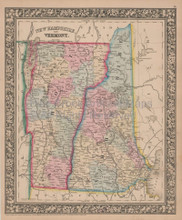 Vermont New Hampshire Vintage Map Mitchell 1864
