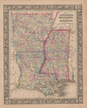 Louisiana Mississippi Arkansas Vintage Map Mitchell 1864