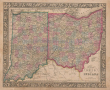 Ohio Indiana Vintage Map Mitchell 1864