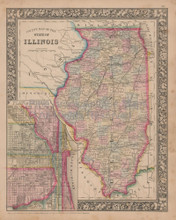 Chicago Illinois Vintage Map Mitchell 1864