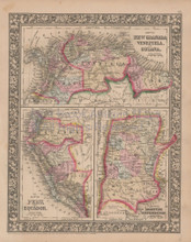 New Granada Venezuela Vintage Map Mitchell 1864