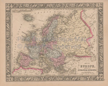 Europe Vintage Map Mitchell 1864
