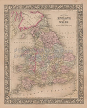 England Wales Vintage Map Mitchell 1864