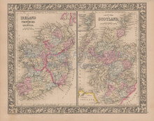 Ireland Scotland Vintage Map Mitchell 1864