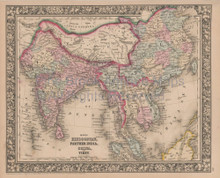 Southeast Asia Vintage Map Mitchell 1864