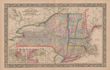 New York State Vintage Map Mitchell 1864