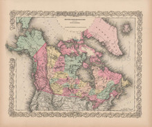 Northern America Vintage Map Colton 1856