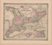 Canada West Vintage Map Colton 1856