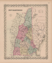 New Hampshire Vintage Map Colton 1856