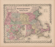 Massachusetts Rhode Island Vintage Map Colton 1856