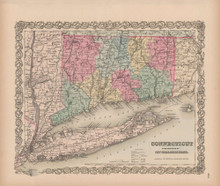 Connecticut Vintage Map Colton 1856