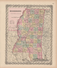 Mississippi Vintage Map Colton 1856