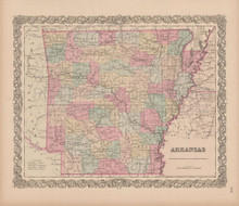 Arkansas Vintage Map Colton 1856