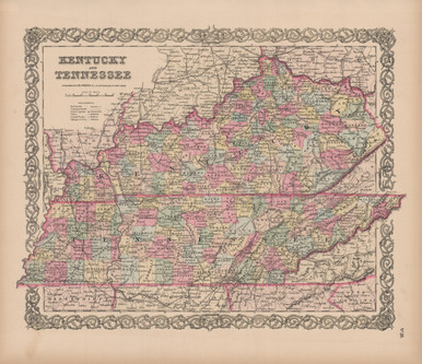 Kentucky tennessee vintage map colton 1856 original for sale kentucky tennessee vintage map colton 1856 gumiabroncs Choice Image