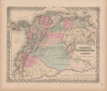 Venezuela New Granada Vintage Map Colton 1856