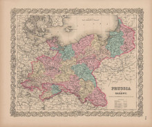 Prussia Saxony Vintage Map Colton 1856