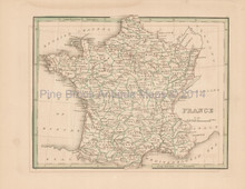 Antique Map France Bradford 1835